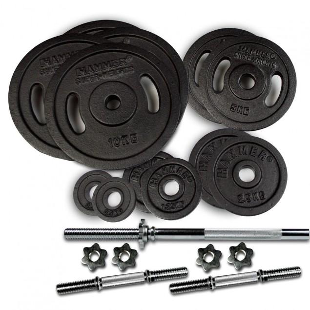 Hanteln und Gewichte 73 kg Lang- und Kurzhantel-Set von HAMMER