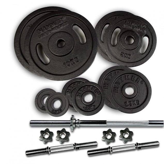 Hanteln und Gewichte 53 kg Lang- und Kurzhantel-Set von HAMMER