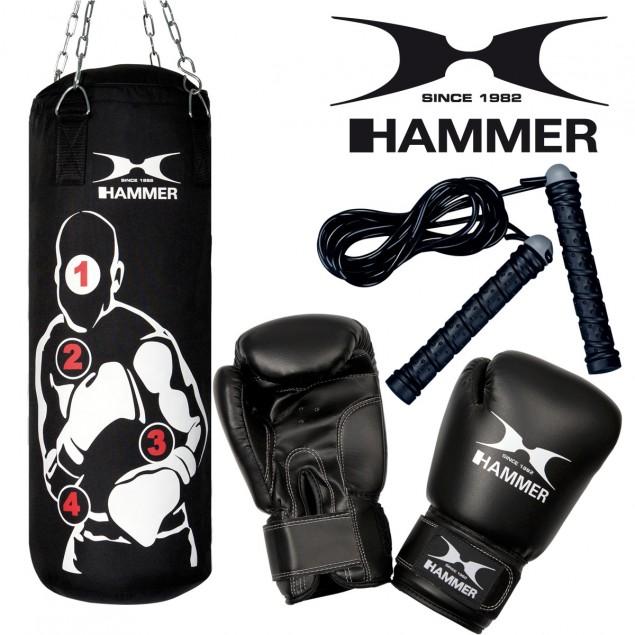 Box-Set Sparring Pro Boxsack + Boxhandschuhe + Springseil von HAMMER BOXING