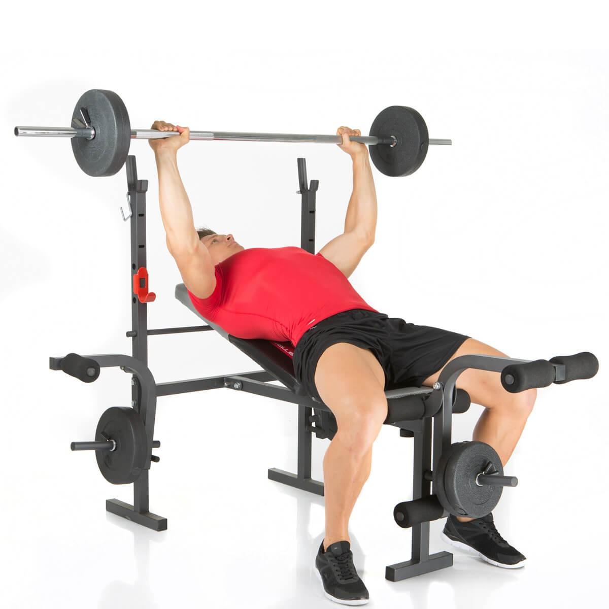Banc de musculation bermuda de hammer avec des poids 25 kg inclus - Poids banc de musculation ...